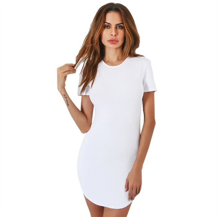 Femmes Casual manches courtes col rond Mini Robe tunique, blanc