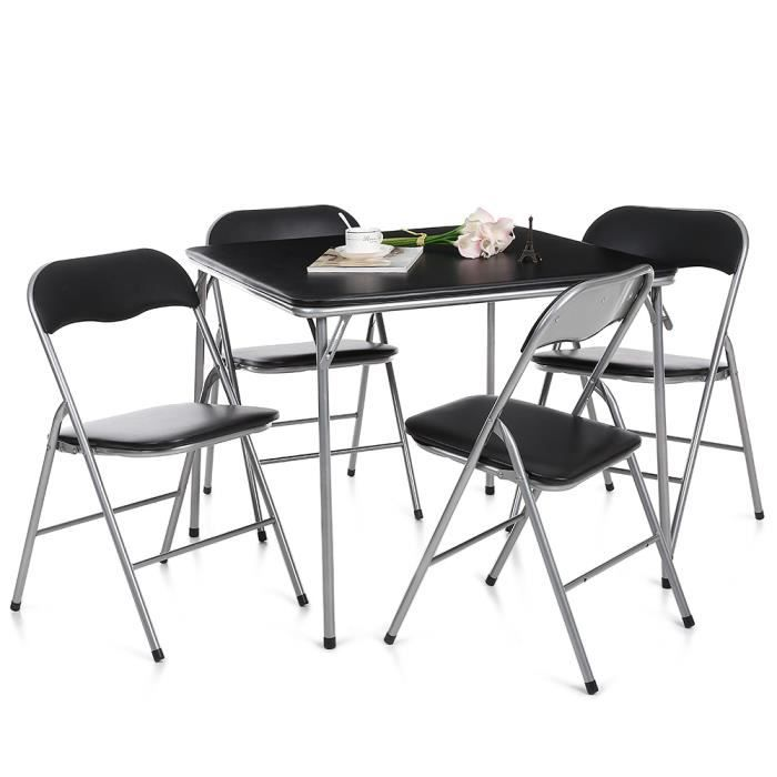 Ikayaa 5pcs set table chaise pliant pliable multifonction en m tal cuisine sa - Table a manger pliable ...