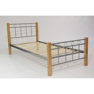 STRUCTURE DE LIT Lit en métal et bois EVELINE + sommier 90x190 cm.