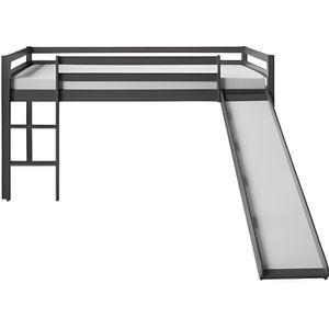 LIT MEZZANINE Lit mezzanine gris pour enfants avec toboggan et e