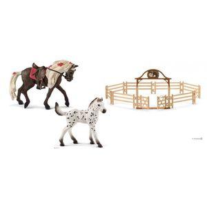 FIGURINE - PERSONNAGE Figurine chevaux avec manège avec portail - équest