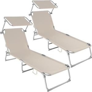CHAISE LONGUE TECTAKE Transat Jardin de Bain Pliant Inclinable a