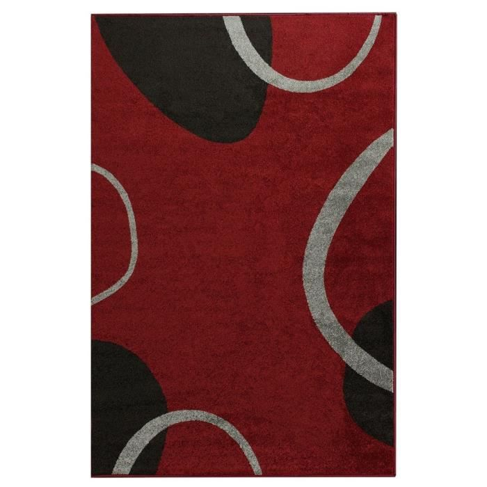 cosi tapis de salon 160x220 cm rouge noir et gris achat. Black Bedroom Furniture Sets. Home Design Ideas