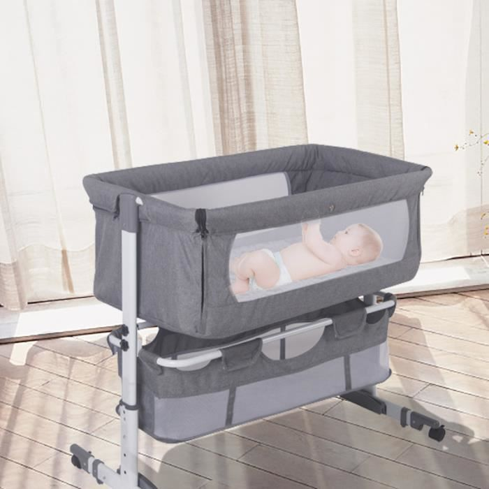Lit Bébé Cododo JNIS - Berceau Cododo Bébé avec Matelas,Hauteur Réglable, Fenêtre en Filet, Roues 0-6 Mois, 9 kg