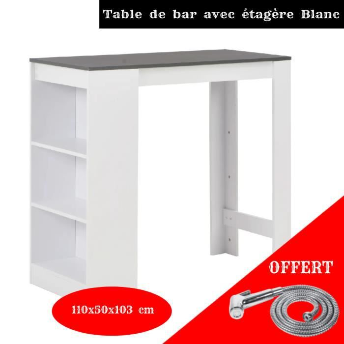 Table de bar Barth 2 à 4 personnes bois blanc et gris YULINSHOP