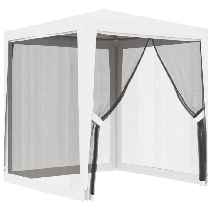 Tente de réception Chapiteau - Tonnelle Barnum avec 4 parois latérales en maille 2x2m Blanc#19321