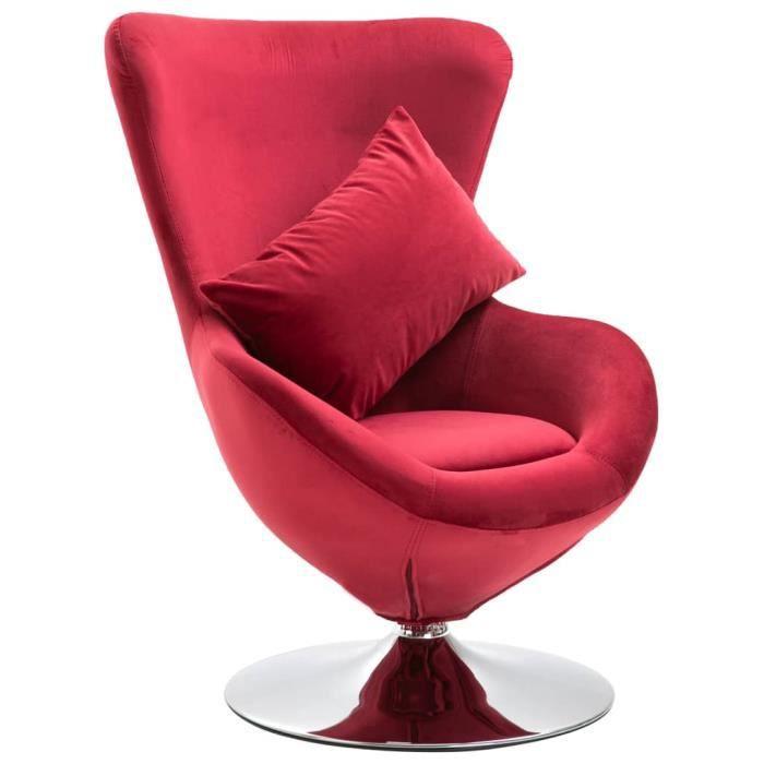 Fauteuil Design Relax - Style Moderne En Velours De Luxe - Pivotant Sur 360 Degrés - Coussin Offert - Rouge - 64*64*86 Cm