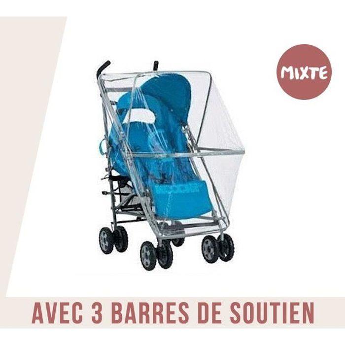 Habillage Pluie Universel Pour Poussette Avec Barres De Soutien - Norme EN 71 & 250 Microns d'Epaisseur