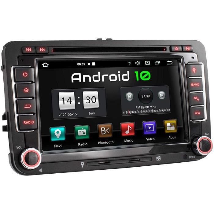 Autoradio avec Android 10 approprié pour VW Seat Skoda- 4Core- 2GB RAM- 32GB ROM I Navigation GPS I Support WiFi- WLAN- 3G- 4G-[232]