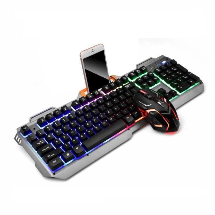 LIGNE GAMING- CLAVIER GAMER +De la souris +Support de téléphone portable - Double Color émettant de la lumière Ma34048