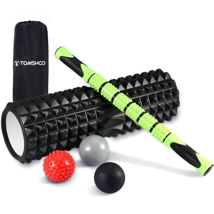 TOMSHOO Rouleau de Massage Kit, Foam Roller + 3 Balles de Massage + Sac de Transport, Rouleaux en Mousse pour Trigger Point Massage