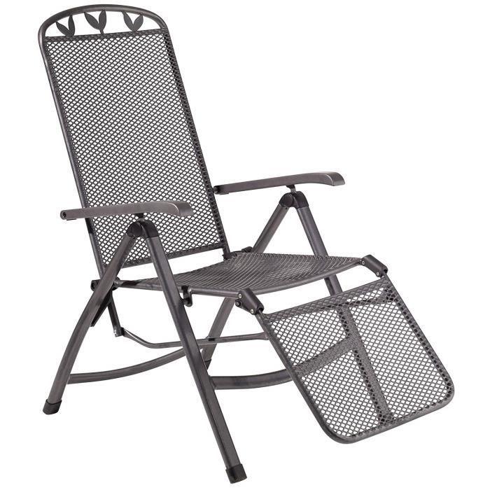 greemotion Chaise relax de jardin Toulouse – Chaise longue avec dossier réglable – Fauteuil multiposition gris anthracite – Bain