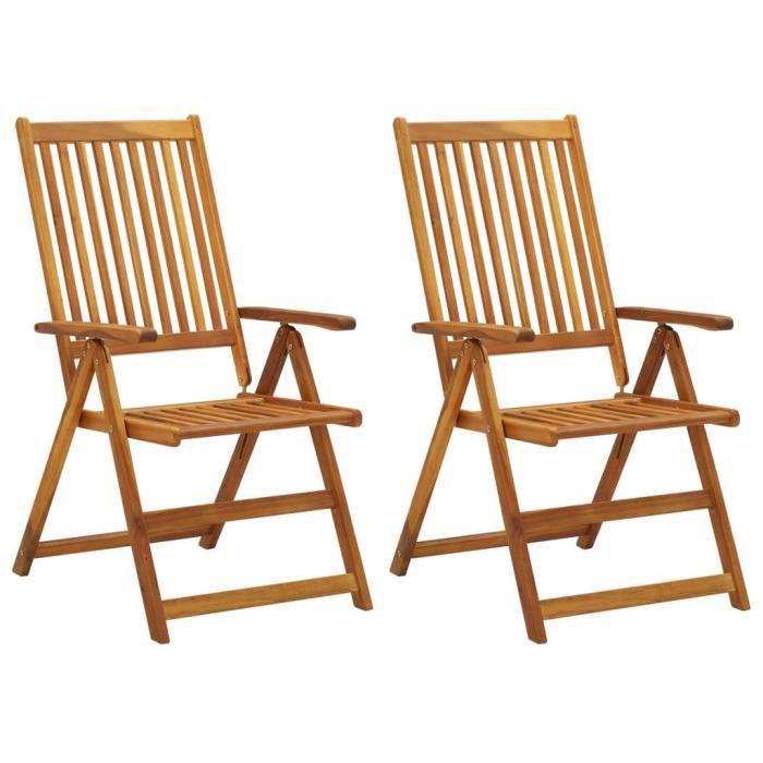 STAR - Pack 2 Chaises inclinables de jardin, Chaises Longues, Bain de Soleil ,Transat de Relaxation Bois solide d'acacia}8491