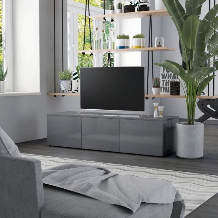 Meuble TV Gris brillant 120x34x30 cm Aggloméré Meuble TV Gris brillant 120x34x30 cm Aggloméré ®PZAHWJ®