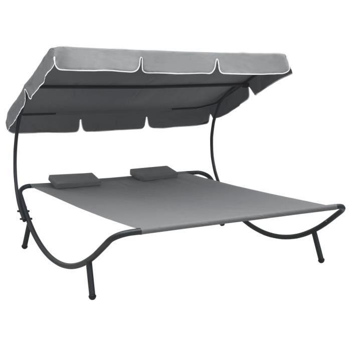 Top confort - Lit Grand Lit de repos d'extérieur- Lit de jardin LIT DE CAMP - avec auvent et oreillers Gris FLO3953