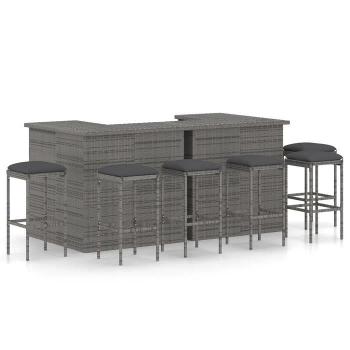 Top confort - Salon de jardin 6 places - 2 Table de bar + 6 Tabourets de bar avec coussins Résine tressée Gris FLO8657