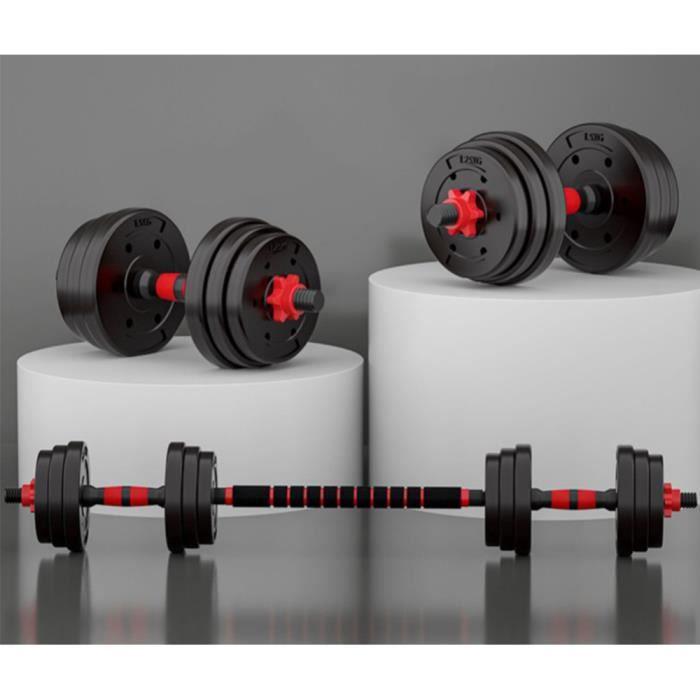 YGONGMYL Kit haltères Musculation 20 kg - 2 en 1 Réglable Poids - Noir/Rouge (avec Barre D'extension)