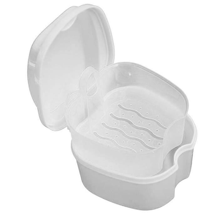 Boîtes de rangement et bacs,Boîte de bain pour dentier, boîtier de rangement pour fausses dents, avec filet suspendu,- Type WHITE #A