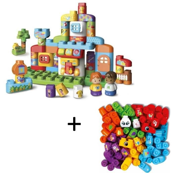 VTECH - Bla Bla Blocks - Ma maison alphabet interactive & Coffret 50 blocs (sans électronique)