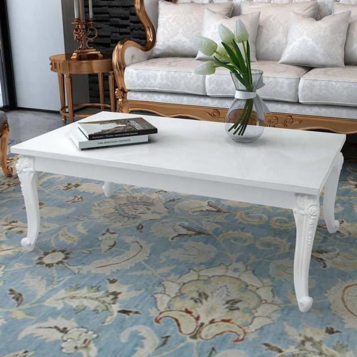 Table basse 115x65x42 cm Blanc brillant-XIC