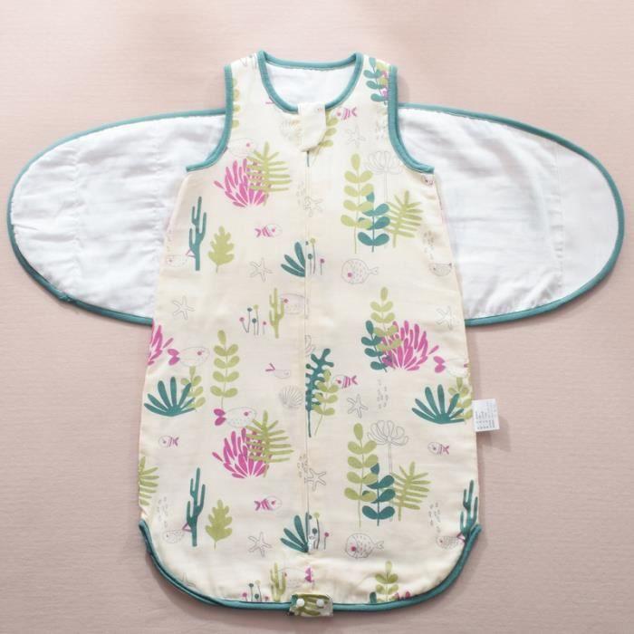 Sommeil bebe housse de pyjama bebe Coton Sac de Gigoteuse couvertures sans manches en coton Été pour bébé Zip Sécurisé -75-Vert