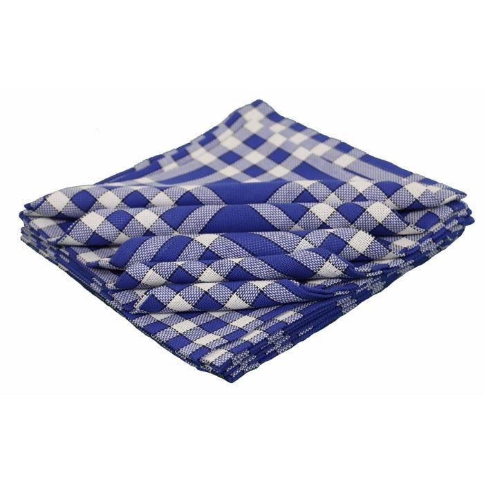 LINANDELLE - Lot de 10 serviettes de tables coton carreaux vichy Normand NELLY - Bleu
