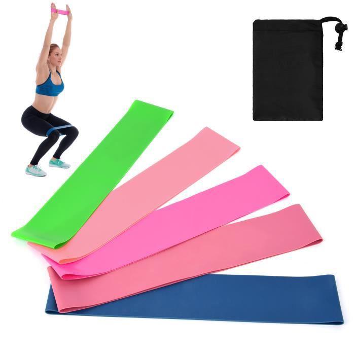 5 PCS Sports Exercice Résistance Boucle Bandes Ensemble Élastique Butin Bande Ensemble pour Yoga Home Gym Formation-787