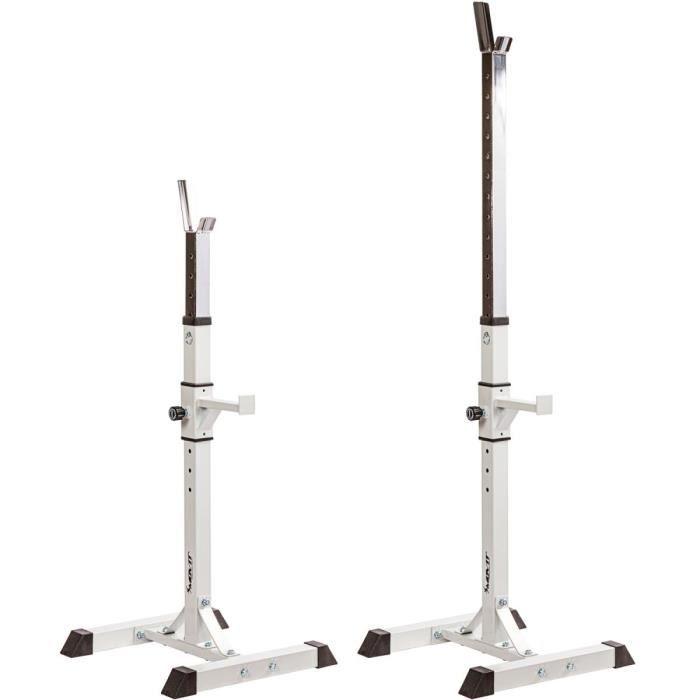 MOVIT Rack à Squat, ensemble de 2 supports d'haltères réglable, supports pour haltères de muscu, Home-Gym, couleur blanc