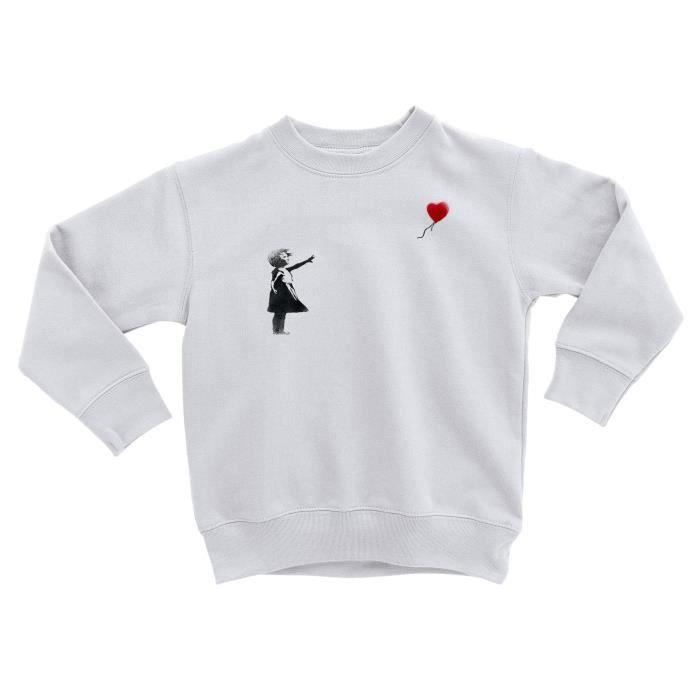 Sweatshirt Enfant Banksy Fillette Ballon Rouge Coeur Enfant