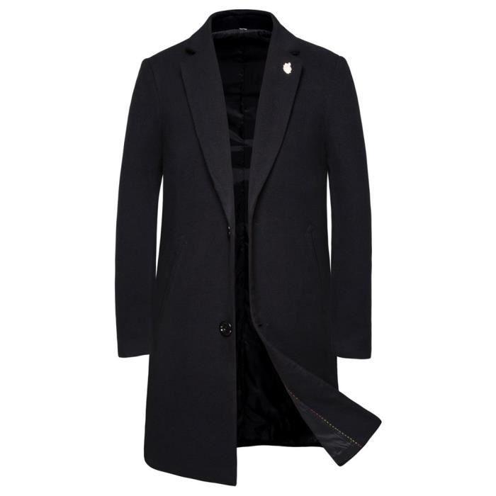 Hommes casual trench mode affaires long slim manteau veste manteau