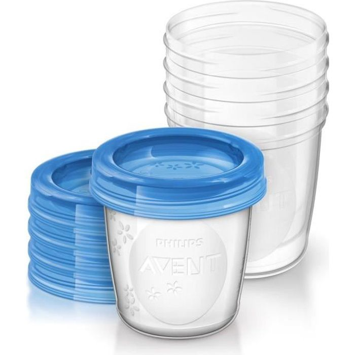 PHILIPS AVENT SCF619/05 5 pots de conservation pour lait maternel 180 ml