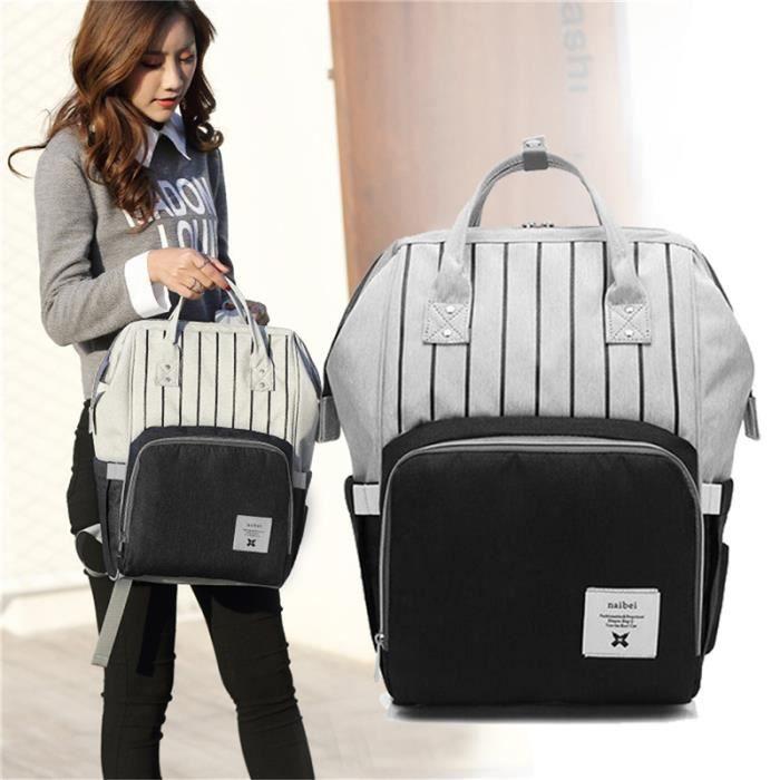 Noir mode couches grande capacité multi-fonction sac de soins enfants voyage rayé sac à dos bébé sac à langer biberon