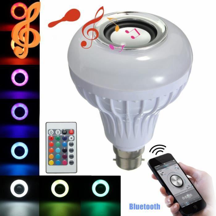 B22 Bluetooth Musique Haut-parleur RGB Blanc LED 12W Ampoule Acoustique Contrôle