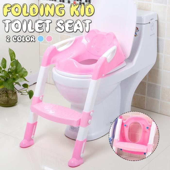TEMPSA Réducteur de WC Enfant Bébé Siège Toilette Echelle Formation Pliable ROSE