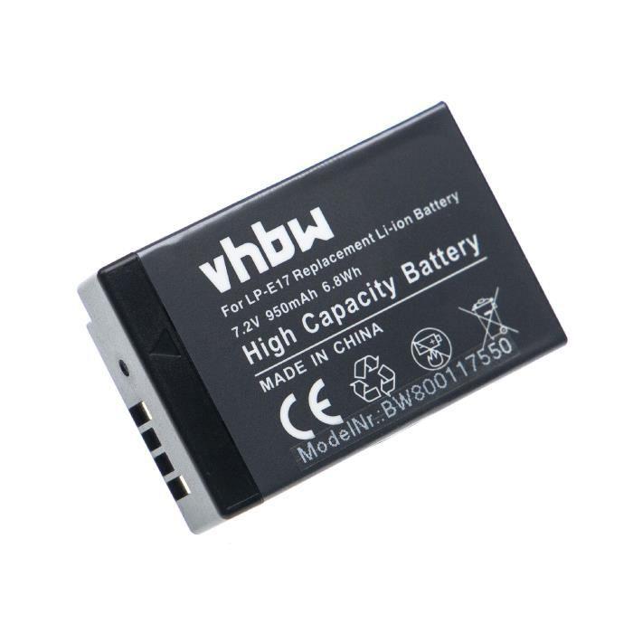 vhbw Batterie remplacement pour Canon LP-E17 pour appareil photo digital reflex APRN (950mAh, 7,2V, Li-ion)