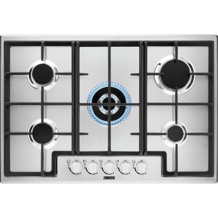 Zanussi ZGH76524XS, Intégré, Cuisinière à gaz, Acier inoxydable, Acier inoxydable, Émaillé, 1000 W