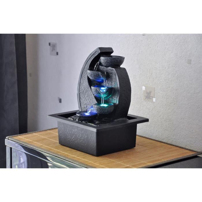ZEN'LIGHT Fontaine d'intérieur Cascade V.2 - Décoration Zen Apaisante - Eclairage LED - SCFR07D - Noire