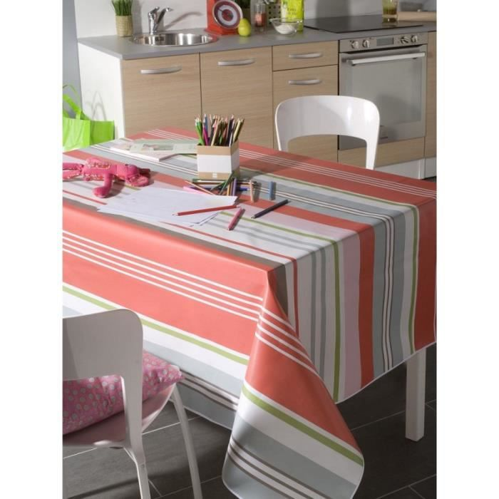 Nappe en toile cir e carr 140x140 cm colorama corail - Nappe de table carre ...