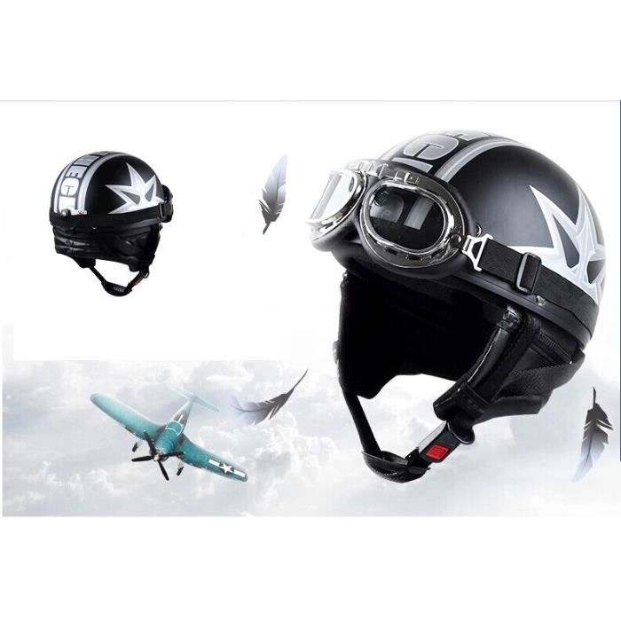 casque bol moto scooter vespa harle vintage lunettes aviateur couleur argent. Black Bedroom Furniture Sets. Home Design Ideas