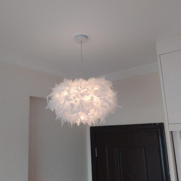 45cm Lustre Suspension en Plumes Lampe Luminaire Plafonnier Blanche Rond  pour Chambre d\'Enfant