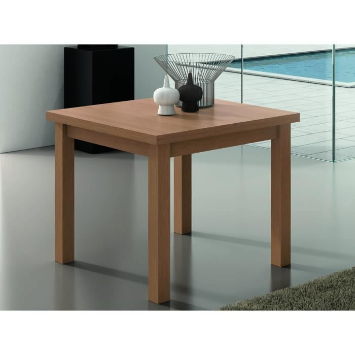Table carr e extensible finition noyer 90 180cm achat for Table carree extensible