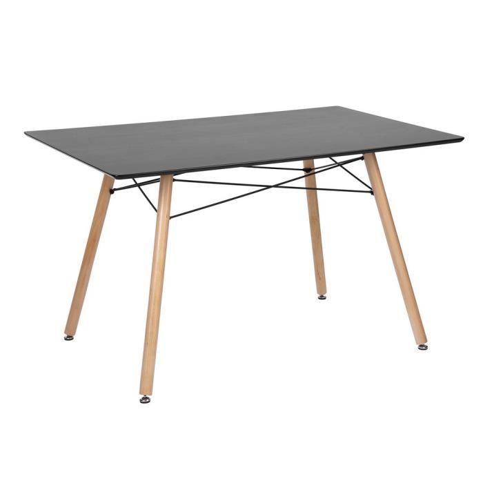 Table Salle à Manger Style Scandinave Cuisine Salon Travail rectangle 4  places Plateau Bois Noir Pieds en Bois Table uniquement