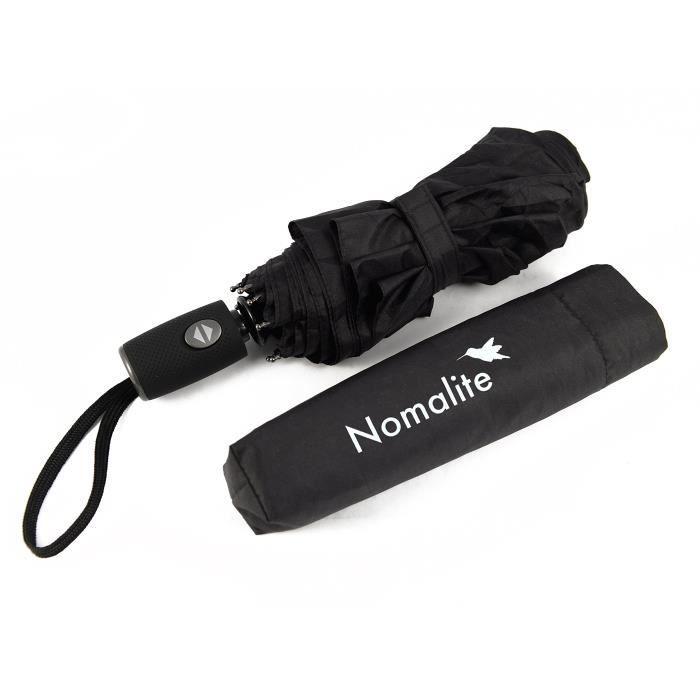 Parapluie invers/é coupe-vent de voyage parapluie automatique pliable compact pour ouverture et fermeture automatique noir