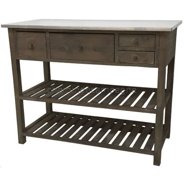 style ancienne console table de drapier de rempotage meuble bois plateau zinc achat vente. Black Bedroom Furniture Sets. Home Design Ideas