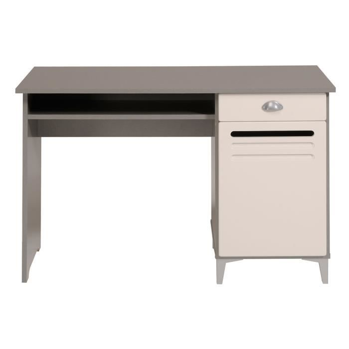 bureau adolescent 1 porte 1 tiroir gris et iv achat vente bureau bureau adolescent 1. Black Bedroom Furniture Sets. Home Design Ideas