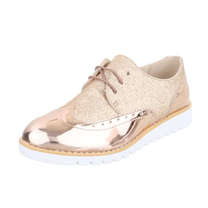 Chaussures femme flâneurs laceter rose or 41