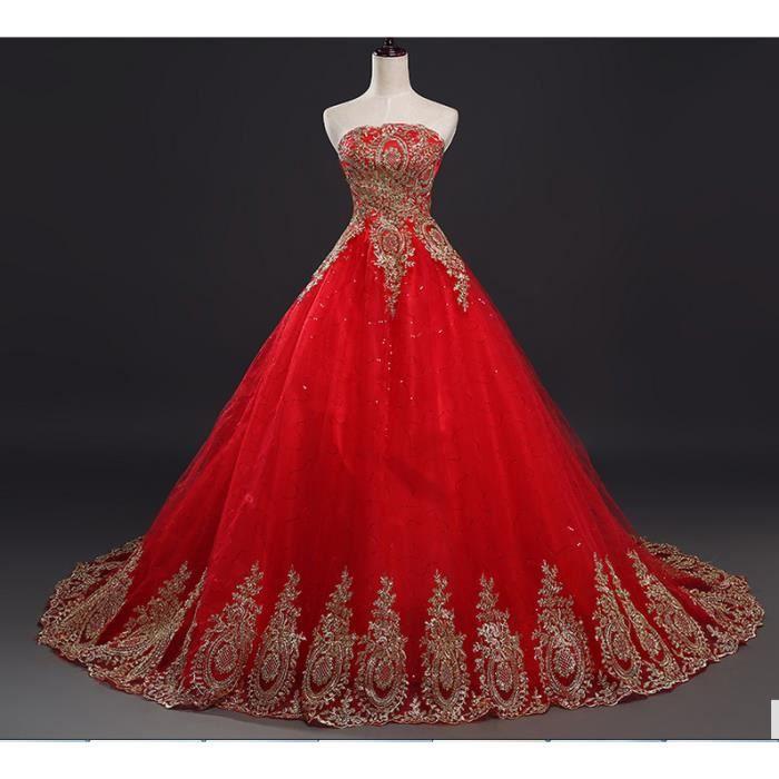 HUIXIN®Robes de mariée rouge dentelle Vintage