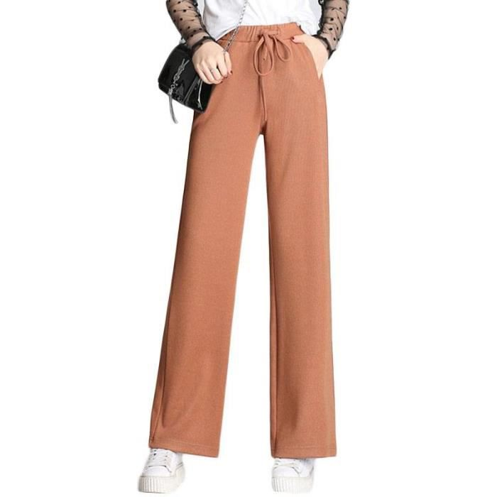 Pantalon Femme Coupe Droite Large Taille