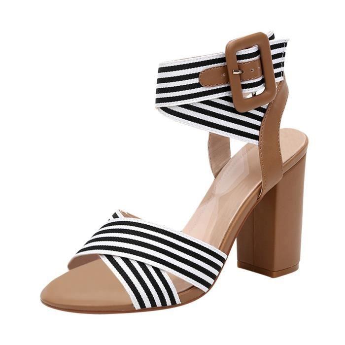 Femmes Lady Bloc Moyen Talon Plat ajourées avec Bout Ouvert Bride Cheville Sandales Chaussures