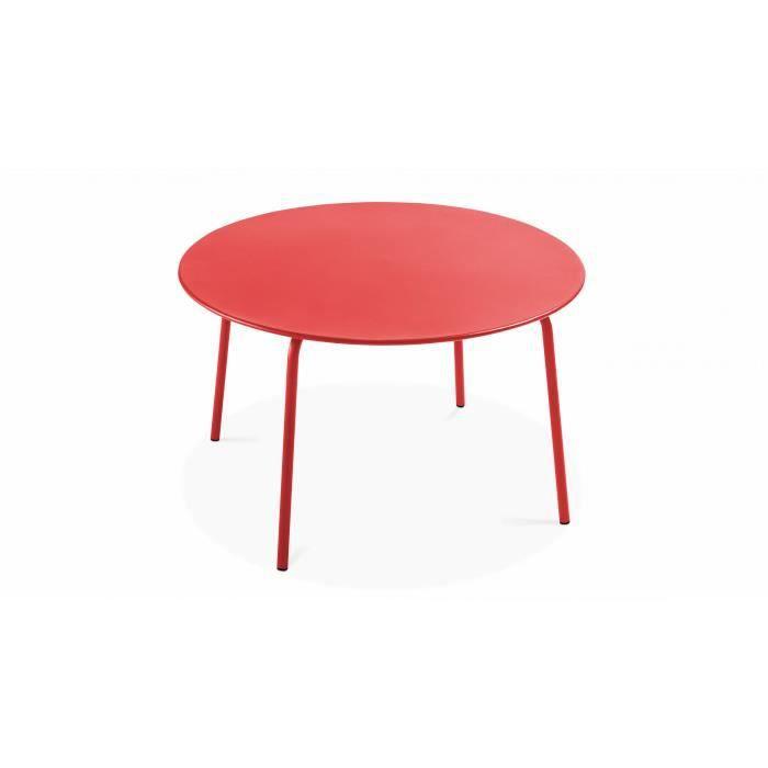 Table de jardin ronde en métal - diamètre 120 cm ...